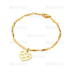 pulsera con corazon de dorado en acero para mujer-SSBTG1094335