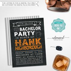 Bachelor Party Invitation -- Black Leather & Beer  Get the guys together for your last big night with our Leather & Beer printable invitation! Listing comes with complimentary - and complementary! - back side file (as shown in listing photo only). Back side file includes our logo and website information, which cannot be removed. Choose from three different faux-leather backgrounds: black, cognac, and tan!  See this design in Cognac Leather here: https://www.etsy.com/lis...