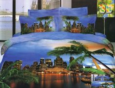 Modne pościele z  bawełny w kolorze niebieski z miastem i palmami