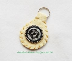 POW/MIA leather keychain ~ https://www.facebook.com/pages/Beaded-Moon-Designs/229870373249