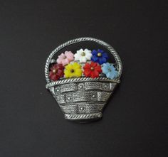 Vintage Basket of Flowers Brooch by LisaWitmerCollection, $12.50