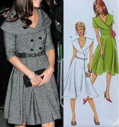 Patrón para confeccionar un vestido de cuello amplio con manga 3/4. Tallas desde la 36 hasta la 56.