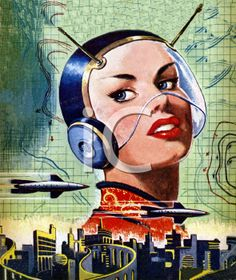 Vintage science fiction illustration - woman in a helmet and a futuristic city