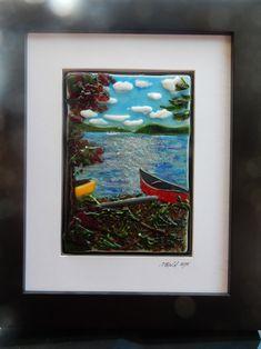 SA-35 Fused glass landscapes Bead Crafts, Fused Glass, Studios, Landscapes, Workshop, Spring, Frame, Painting, Decor