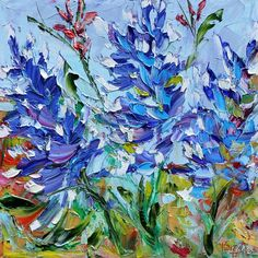 Blue flower painting with palette knife.