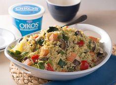 Salade d'orzo aux légumes racines rôtis avec sauce Oïkos