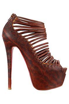 Christian Louboutin Snakeprint Platform Straped Bootie 2013 Spring-Summer #shoes #high