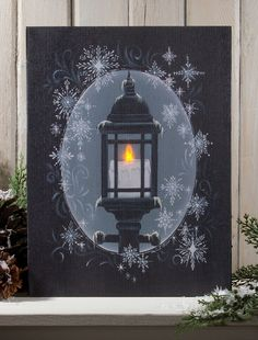 Radiance Lighted Canvas Snowflake Lantern shelley b home and holiday