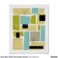 This fabulous mid century modern poster features aqua blue, avocado green, yellow, and tan abstract rectangles, along with highlights of black and white starbursts. Mid Century Modern Colors, Mid Century Exterior, Modern Color Palette, Funky Home Decor, Mid Century Art, Modern Artwork, Blue Yellow, Mid-century Modern, Modern Wall