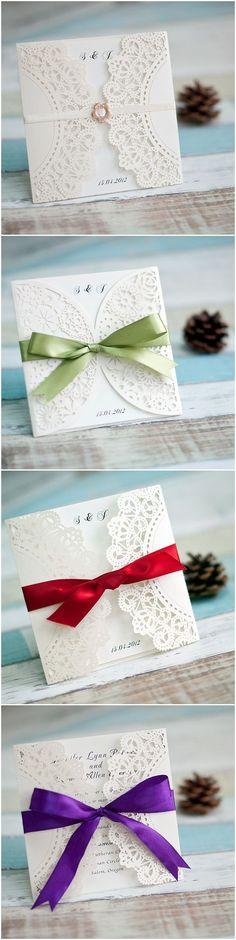 elegant diy laser cut wedding invitations with custom ribbons #weddinginvitation
