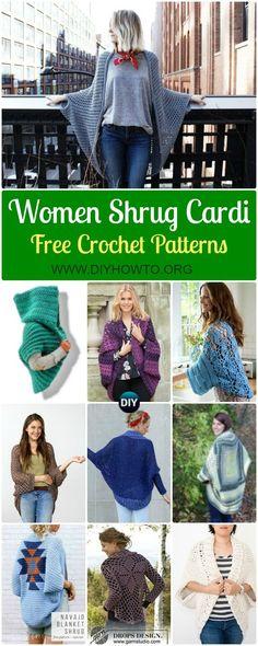 A Collection of Crochet Women Shrug Cardigan Free Patterns: Crochet Adult Cocoon Shrug, Cardigan, Blanket Shrug, Easy Shrug Outwear via @diyhowto