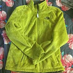 North Face jacket Lime green north face, small hole in sleeve. Completely fixable just don't have time to fix it, comment an offer. North Face Jackets & Coats Utility Jackets