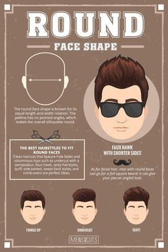 Round Face ★Face shapes guide to matching your haircut perfectly. Take advantage of your unique face shape features and enhance them with your head and facial hair. Face Shape Hairstyles Men, Haircuts For Round Face Shape, Round Face Men, Haircut For Face Shape, Hair For Round Face Shape, Round Face Shapes, Short Hairstyles For Round Faces, Short Sides Haircut, Side Haircut
