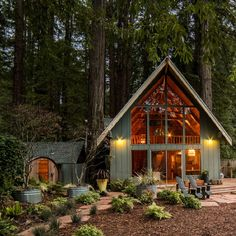 A frame cabin, a frame house, triangle design, minimal home, cabins and Cozy Cabin, Cozy House, A House, Cabins In The Woods, House In The Woods, The Cabin, House In The Forest, Cottage In The Woods, Cottage Style
