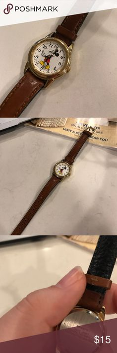 Mickey Mouse Leather Watch It is a child's watch! Slight scratch on glass near mickeys face not too noticeable. Needs a new battery! No trades! Make an offer!! Disney Accessories Watches