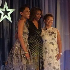 Dorothy Height Luncheon: First Lady Michelle Obama flanked by two prominent ladies in media. Robin Roberts & Debra Lee, Chairman & CEO of Bet. 3/5/14
