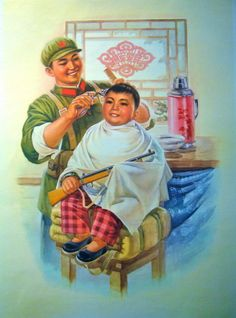 VINTAGE CHINESE PROPAGANDA POSTER 1973 BOY + BARBER For Sale | Antiques.com | Classifieds