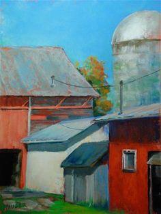 """""""Campbell Farm"""" pastel/watercolor - © Alice Hauser"""