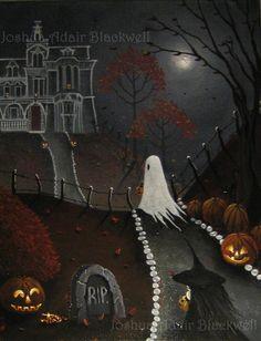 J A Blackwell art print SIGNED Halloween Fantasy Folk Ghost Fall Autumn Witch  #HalloweenFairyTaleFolkGhostWitchFantasyart
