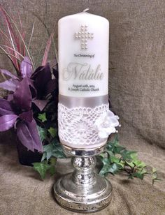 Baptism or Communion Candle with crocheted ribbon by JCembossing