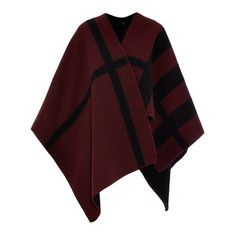 Burberry Prorsum Wool and cashmere-blend reversible cape ($1,360) ❤ liked on Polyvore featuring outerwear, jackets, coats, capes, poncho, red multi, burberry cape, woolen cape, red cape coat and reversible cape