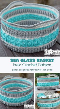 This Sea Glass Basket Free Crochet Pattern can be used to create unique storage solutions for your home. They personalize your space and make beautiful catch-all areas for your stuff. Crochet Basket Tutorial, Crochet Basket Pattern, Knit Basket, Crochet Patterns, Crochet Baskets, Basket Weaving, Crochet Ideas, Crochet Bowl, Easy Crochet