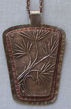 Bronze Botanical Pendant  - Nickel Silver, Copper, Bronze. Off The Grid Designs.