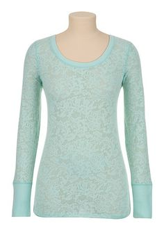 maurices: Long Sleeve Lace Print Burnout Tee - maurices.com