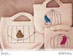 Gorgeous little starling crocheted handbags... felt appliques and embroidered embellishments. Free Pattern