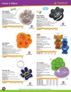 Creative Pet Promo items like stress relievers, paw paper clip holders and more.