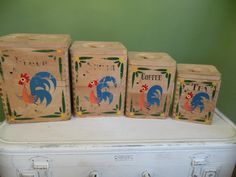 Vintage Wooden Canister Set Rooster by Traincasesandmore on Etsy