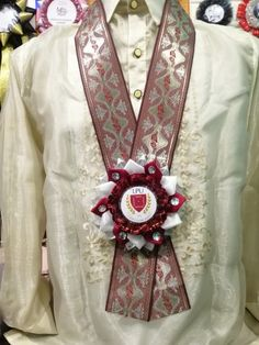 Beautiful rosette necklace leis for guest of honors in a Barong Tagalog. Barong Tagalog, Fabric Bouquet, Leis, Special Guest, Facebook Sign Up, Rosettes, Garland, Arts And Crafts, Beautiful