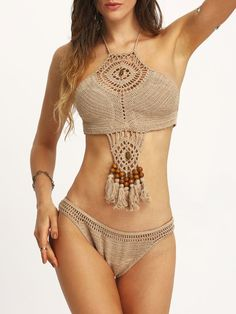 Beaded Tassel Trimmed Crochet Bikini Set - Khaki