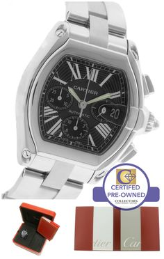 MINT Cartier Roadster XL Auto Stainless Black Chronograph Watch 2618 W62019X6
