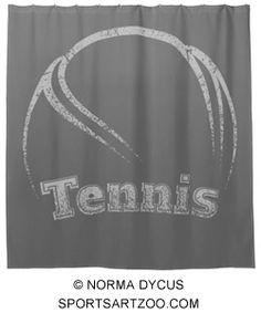 Tennis Curved Grunge Shower Curtain by SportsArtZoo #tennis #decor #showercurtain