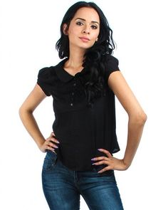 BLACK LACE BIB COLLARED TOP WITH KEYHOLE BACK – HomeGoodsGalore.com