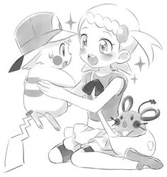 Bonnie and Dedenne with Pikachu!Ash ^.^ ♡ I give good credit to whoever made this