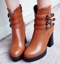 63.72$  Watch now - http://aligea.worldwells.pw/go.php?t=32421287145 - ENMAYER Size 34-43 Women Ankle Boots Vintage High Heels Buckle Spring Autumn Shoes Winter boots fashion Motorcycle Snow Boots 63.72$