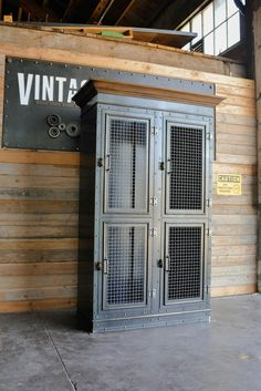 Vintage Industrial Decor Vintage Industrial Armoire – Vintage Industrial Furniture - Size pictured: 24 D x 45 W x 84 T (custom sizing and configurations available) Shown with woven mesh doors, glass optional