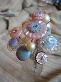Button Flower Bouquet Pink Blue