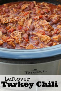 Crockpot Turkey Chili Recipe The perfect Leftover Thanksgiving Turkey Recipe. Make this for Game Day on Friday or Saturday, it's a great way to use up Leftover Thanksgiving Turkey!