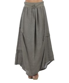 Look what I found on #zulily! Khaki Rolled Hem Linen Maxi Skirt - Plus Too by 100% LIN BLANC #zulilyfinds