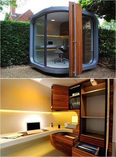 Praktisch und futuristisch: Ein ungewöhnliches Gartenhaus zur Arbeitszimmer-Nutzung.