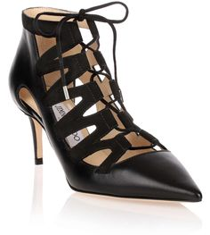 Black leather and suede lace-up pump from Jimmy Choo. The Dixon has a 65mm heel, black suede laces that tie a the top, and a pointed toe.True to sizeLeather soleMade in Italy