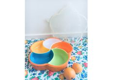 Vintage Tupperware like, Plastic Divided Server Dish, Snack Tray with lid, Chip bowl with 5 removable sections, Retro Kitchen, Bright Colors by KyriesTreasureChest on Etsy