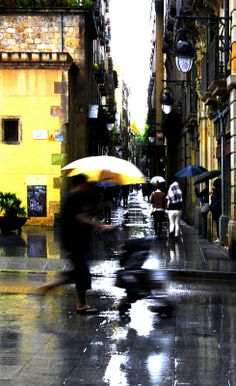 #barcelona #spain #rain #umbrella #colours #reflection #raval Barcelona '11 Rain Umbrella, Barcelona Spain, Times Square, Reflection, Frames, Colours, In This Moment, Summer, Summer Time