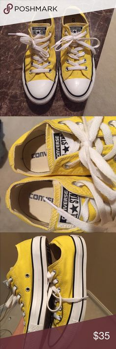 Like new yellow unisex chuck taylors Men's size 5/women's size 7. Like new. I bought these for my daughter. She wore them maybe 3 times, hit a growth spurt now they are too small for her. In great condition. One small mark on the canvas by the white toe tip. Converse Shoes Sneakers