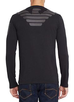 2c688f43c4c5 NWT ARMANI JEANS Mens Slim Fit Cotton Long Sleeve Graphic T Shirt Black  White Armani Jeans