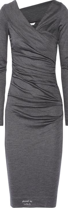 Love the assymmetric neckline (not too wild but just enough to give a gray dress interest)