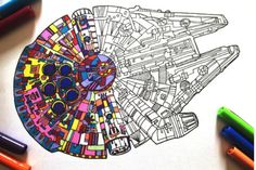 Star Wars Crafts Discover Millennium Falcon - PDF Zentangle Coloring Page Millennium Falcon - PDF Zentangle Coloring Page Colouring Pages, Coloring Pages For Kids, Coloring Books, Star Wars Birthday, Star Wars Party, Millennium Falcon, Star Wars Coloring Book, Star Wars Crafts, Printable Star